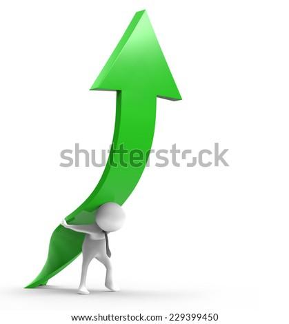 3d businessman with arrow sign positive  - stock photo