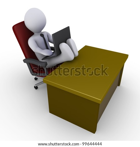 3d businessman with his feet on the desk is looking at laptop - stock photo
