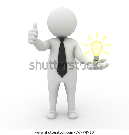 3d businessman with idea lightbulb on his hand over white background - stock photo