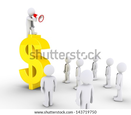 3d businessman with megaphone on a dollar symbol is speaking to others - stock photo