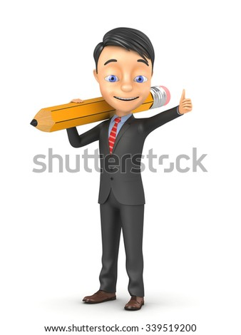 3d businessman with pencil on white background - stock photo