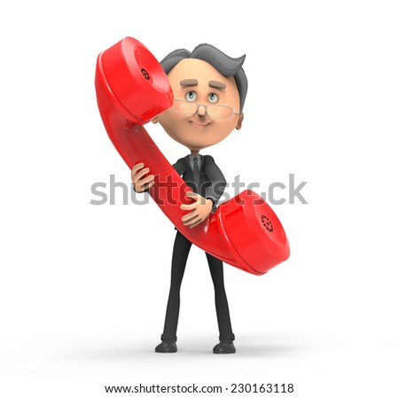 3d businessman with red telephone  - stock photo