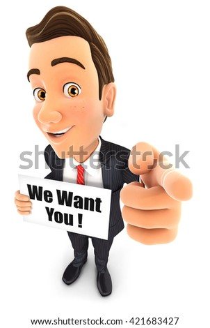3d businessman with we want you message, isolated white background