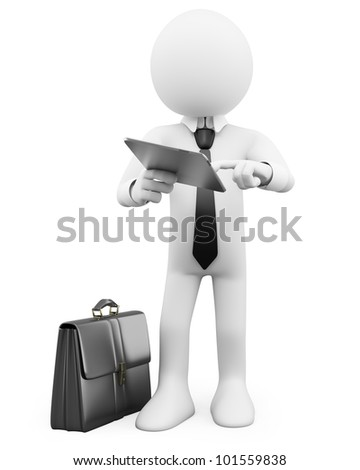 3D Businessman - Working with a tablet. Rendered at high resolution on a white background with diffuse shadows. - stock photo