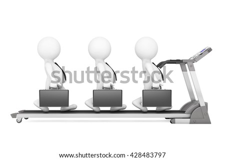 3d Businessmans Team over Treadmill on a white background. 3d Rendering