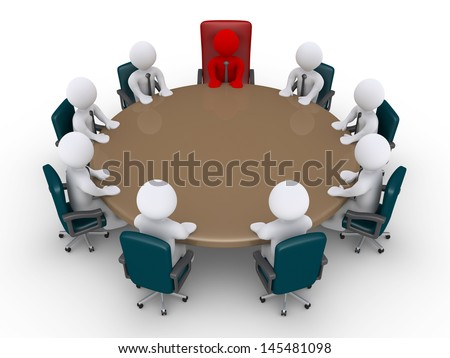 3d businessmen and boss around table as in a meeting - stock photo