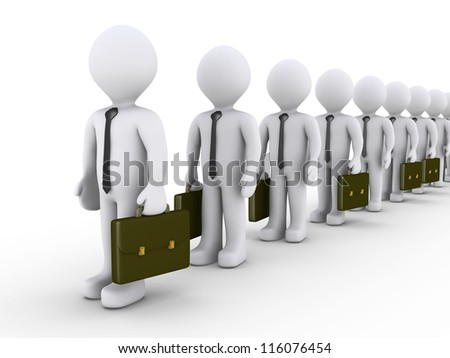 3d businessmen are standing in line waiting - stock photo
