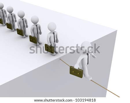 3d businessmen are waiting their turn to walk on tightrope - stock photo