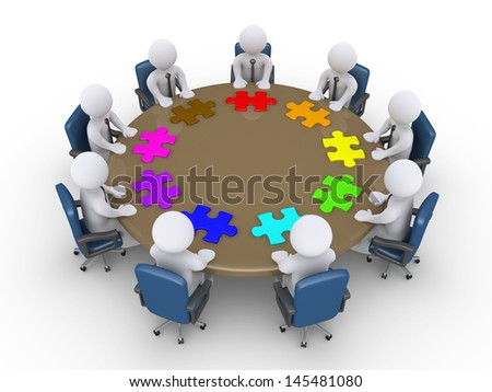 3d businessmen around table and different puzzle pieces in front of them - stock photo
