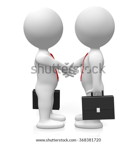 3D businessmen - handshake/agreement/deal concept.