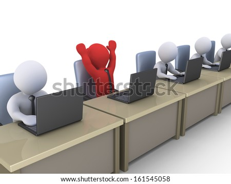3d businessmen in office with laptops and one is very happy - stock photo