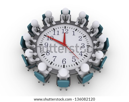 3d businessmen sitting around a clock used as table - stock photo