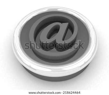 3d button email Internet push on a white background