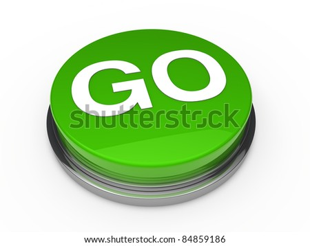 3d button go green power start push - stock photo