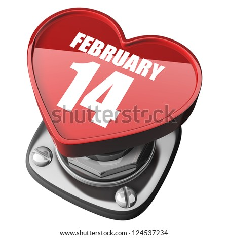 3d button heart. february 14. isolated on white background. High resolution render