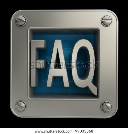 3D button icon with FAQ symbol isolated on black background High resolution - stock photo