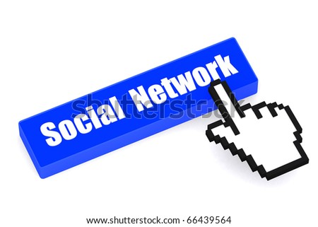 3d button Social Network with hand cursor on white isolated background - stock photo