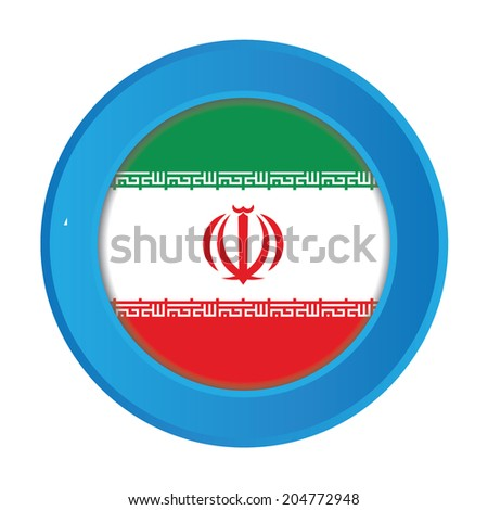 3D Button with the Flag of Iran
