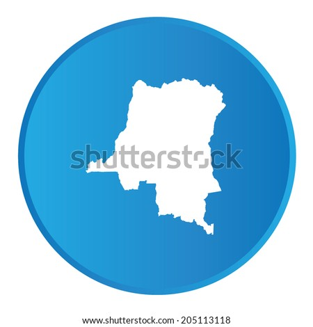3D button with the outline of the country of Democratic Republic of Congo - stock photo