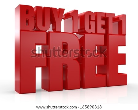 3D Buy 1 Get 1 Free text on white background