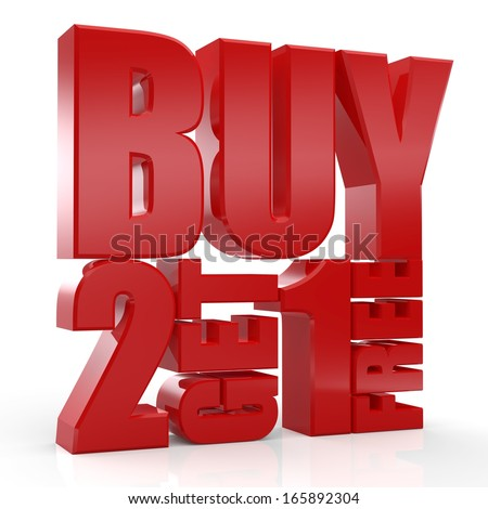 3D Buy 2 Get 1 Free text on white background - stock photo