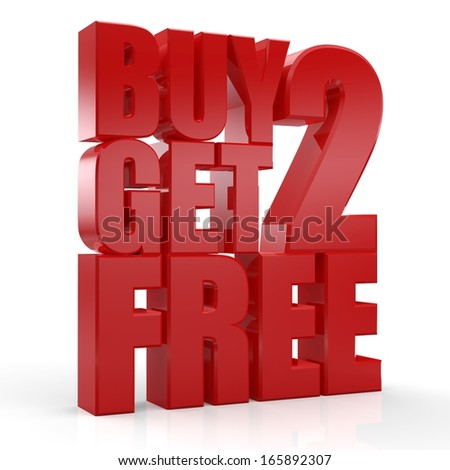 3D Buy 2 Get 2 Free text on white background