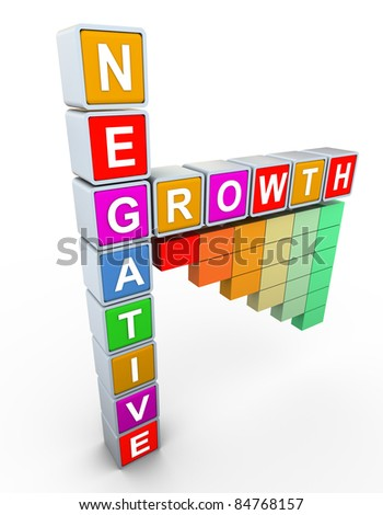 3d buzzword text 'negative growth' with negative progress bars