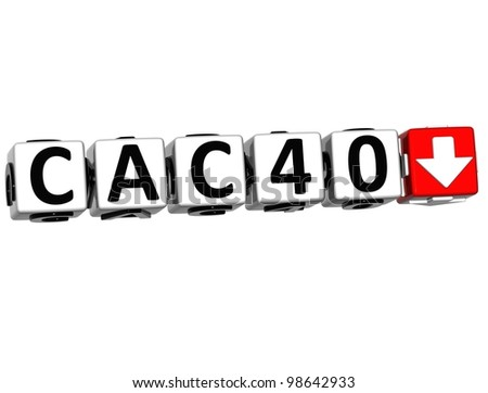 3D CAC40 Stock Market Block Text On White Background