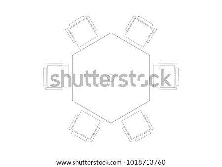 2D CAD plan layout drawing of hexagon shape table with six chair at each side.  sc 1 st  Shutterstock & 2 D CAD Plan Layout Drawing Hexagon Stock Illustration 1018713760 ...