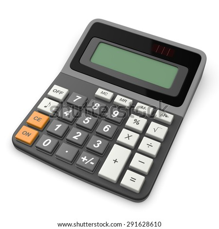3d calculator isolated on white background - stock photo