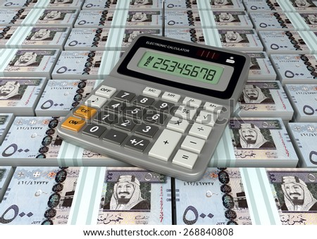 3D Calculator on Saudi Arabia money currency banknote - stock photo