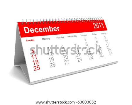 3D calendar December 2011 - stock photo