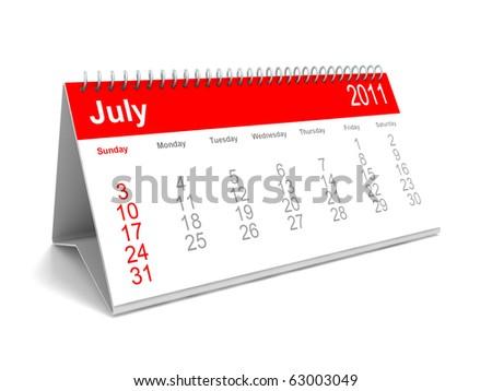 3D calendar July 2011 - stock photo