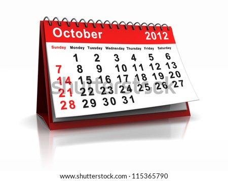 3d calendar with word October and number 2012 - stock photo