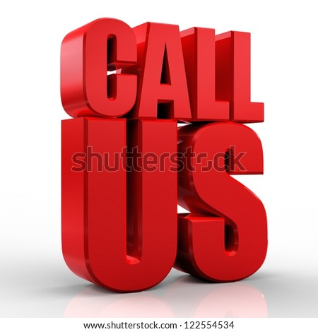 3D Call Us text on white background