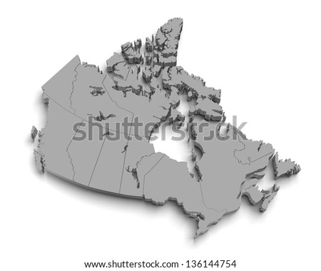 3d canada map on white with territory and regions isolated - stock photo