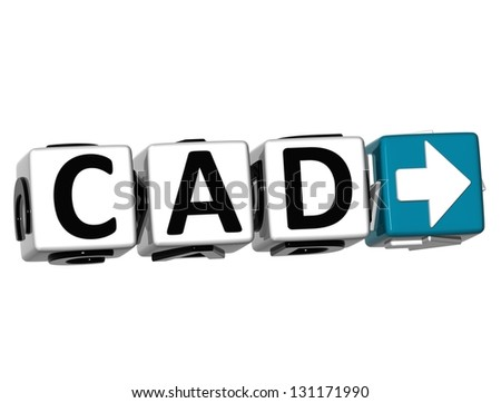 3D Canadian Dollar Currency CAD Button Click Here Block Text over white background - stock photo