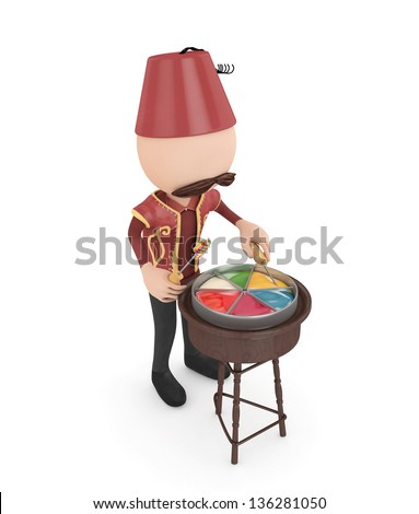 3d candy salesman -ramadan concept-isolated - stock photo
