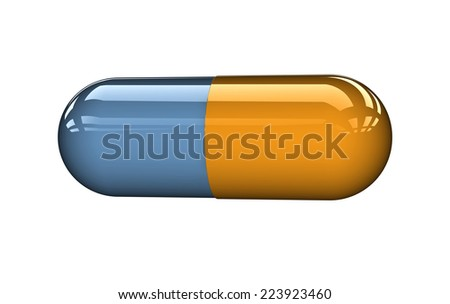 3D capsule on white background. - stock photo