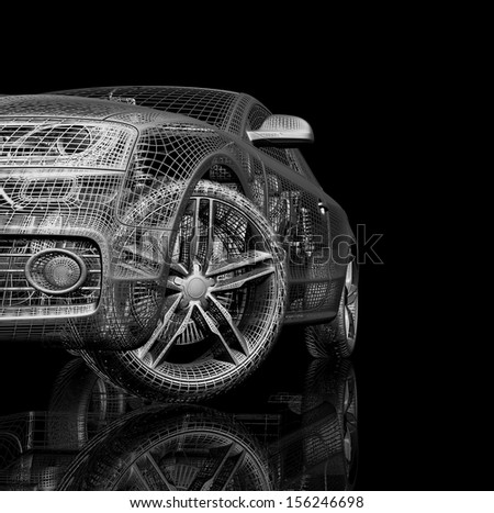 3d car model on a black background. render image . Isolated parts of the car - stock photo