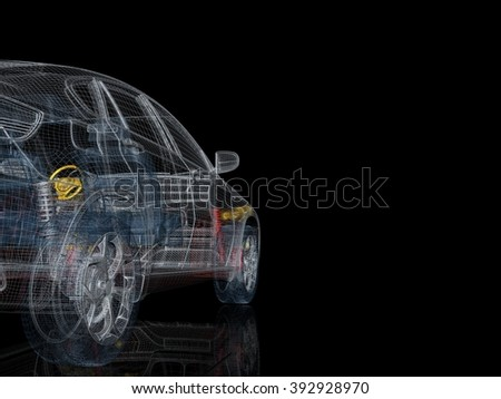 3d car model on a black background. Render image with parts of the car - stock photo