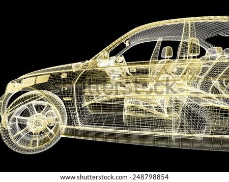 3d car model on black background - stock photo
