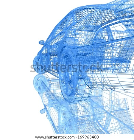 3D Car model on white background with reflection - stock photo