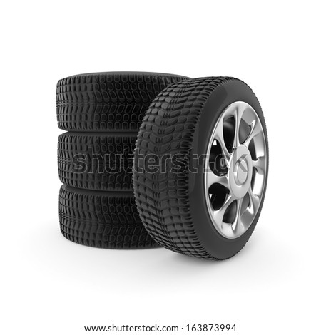 3d Car Tires - isolated