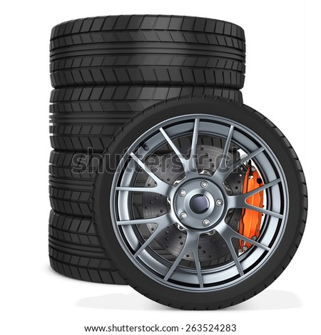 3d car wheels stack on white background