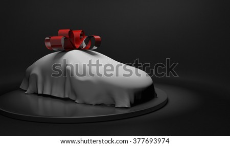 3D car wrapped under a sheet and big red bow - stock photo
