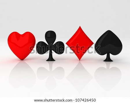 3d card symbol with reflection on white background - stock photo