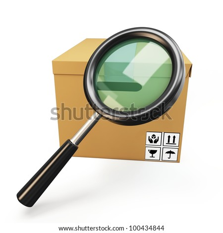 3d cardboard  box with magnifying glass on white background