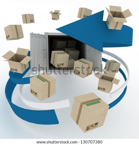 3d cardboard boxes around  container on white background. Worldwide shipping concept. - stock photo