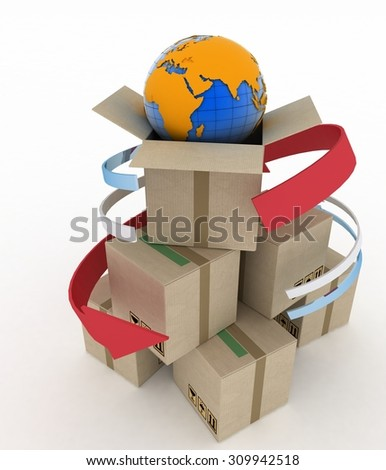 3d cardboard boxes around globe on white background. Worldwide shipping concept. - stock photo